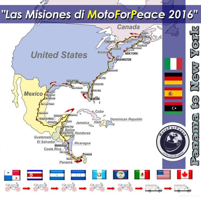 MotoForPeace Map Mission 2016 Panama to New York