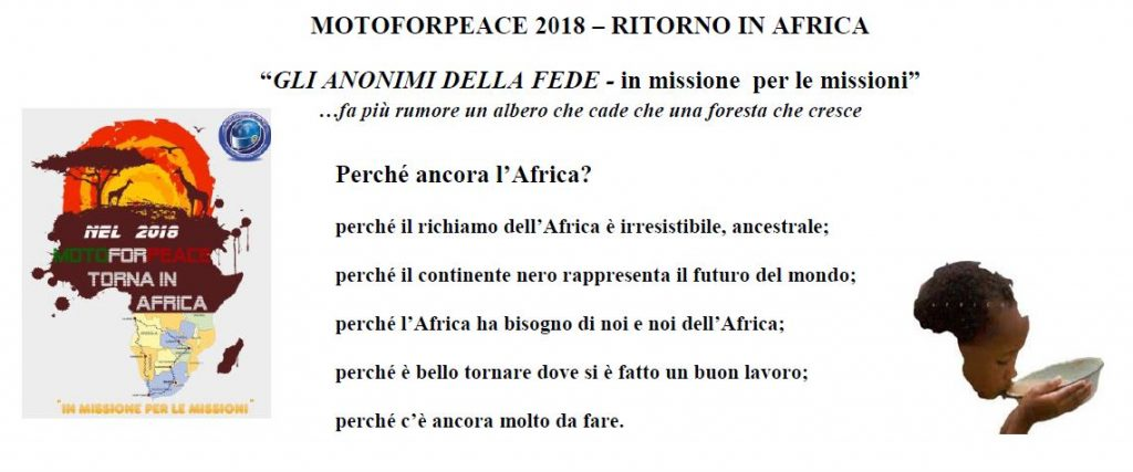 motoforpeace Africa 2018 progetto